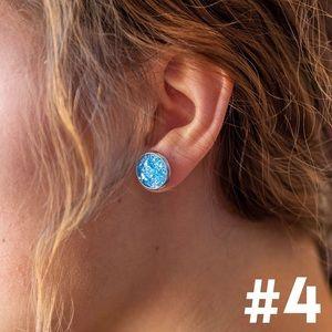 Salty Cold Brew Jewelry - Dainty Druzy Round Earring